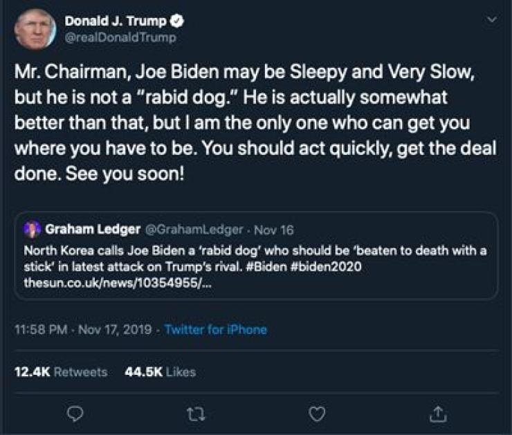 U.S. President Donald Trump's Nov. 17 tweet