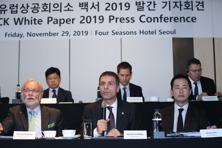 European Chamber of Commerce in Korea (ECCK) Chairman Dimitris Psillakis speaks during a press conference unveiling the organizations White Paper 2019 at the Four Seasons Hotel in Seoul, Friday. / Yonhap