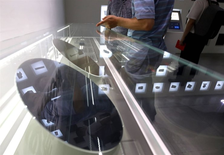 Semiconductor wafers are displayed at Samsung D'light in Seoul's Seocho District. News1