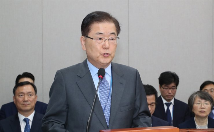 National Security Office chief Chung Eui-yong speaks during the National Assembly's annual audit into Cheong Wa Dae, Nov. 1, at the National Assembly in Seoul. Yonhap