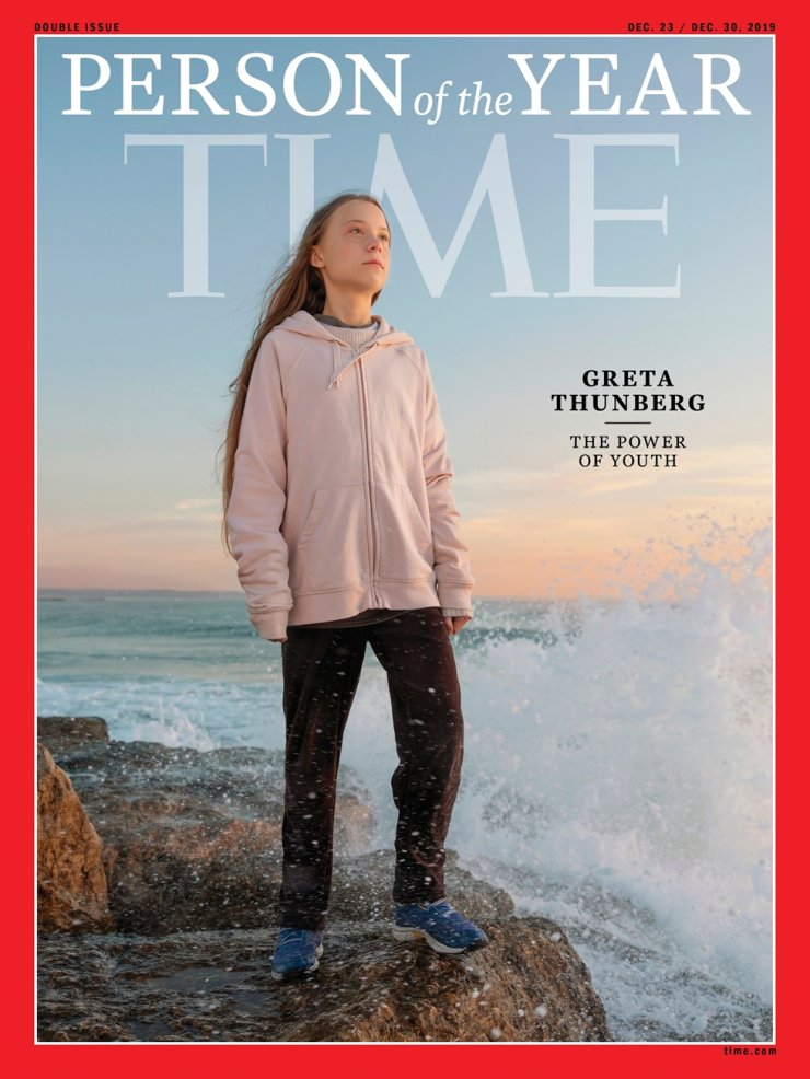 This image courtesy of Time shows the Time person of the Year 2019 cover with Greta Thunberg. /AFP-Yonhap