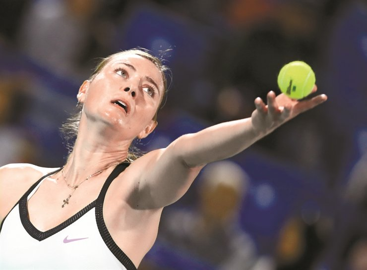 Russia's Maria Sharapova in action during her match against Australia's Ajla Tomljanovic during the Mubadala World Tennis Championship at the Abu Dhabi International Tennis Complex, Abu Dhabi, United Arab Emirates, Thursday. /Reuter-Yonhap