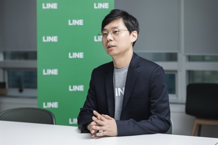 Jayden Kang, chief strategy officer at LINE Thailand and the head of LINE MAN, speaks during an interview with The Korea Times at LINE's Korean office located in Seongnam, Gyeonggi Province, Dec. 19. / Courtesy of LINE