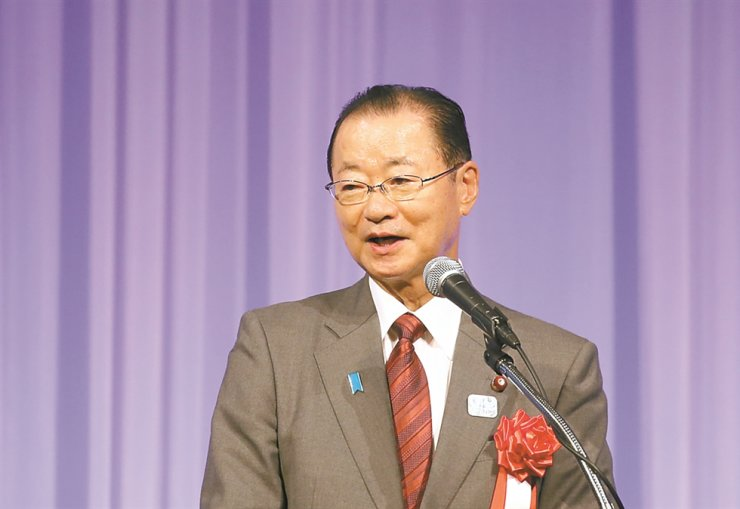 Former Japanese Chief Cabinet Secretary Takeo Kawamura, who is also a member of Japan's ruling Liberal Democratic Party (LDP) and a senior member of the Japan-South Korea Parliamentarians' Union, speaks during an event marking the 50th foundation anniversary of the Korea Tourism Organization's Tokyo Office, Nov. 21, at a hotel in Tokyo. Yonhap