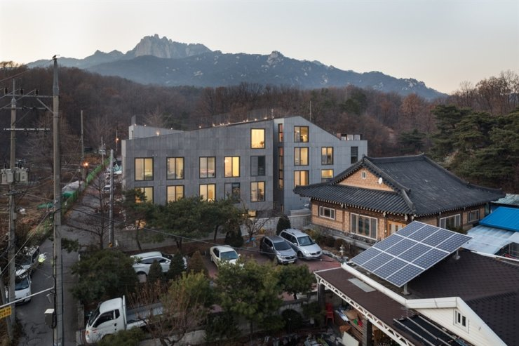 The Eunhye Community house stands with Mount Dobong in the background. /Courtesy of Eunhye Community