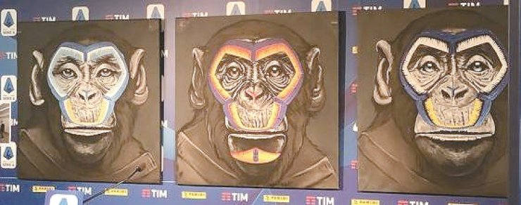 A handout photo made available by the Press Office of the Italian League Serie A shows artwork by Italian artist Simone Fugazzotto featuring paintings of monkeys, part of an initiative against racism, in Milan, northern Italy, Tuesday. /EPA-Yonhap