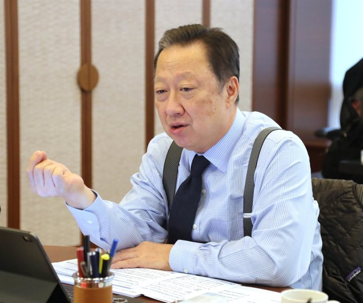 Korea Chamber of Commerce and Industry (KCCI) Chairman Park Yong-maan speaks during an interview at the chamber's headquarters in Seoul, Dec. 26. / Courtesy of KCCI