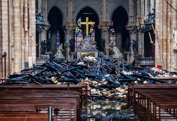 View of the debris inside Notre-Dame de Paris in the aftermath of a fire that devastated the cathedral in Paris, France, 16 April 2019. EPA