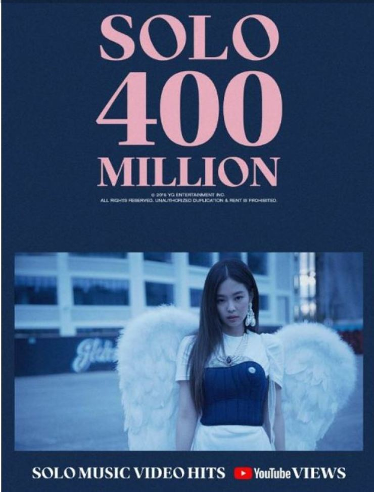 BLACKPINK Jennie's song 'Solo' has reached a milestone 400 million views. Courtesy of YG Entertainment