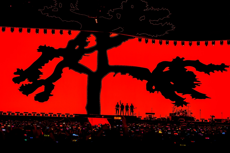 The Edge, Larry Mullen Jr., Bono, and Adam Clayton, from left to right, perform at the first concert in Korea held at Gocheok Sky Dome, Sunday./ Courtesy of Live Nation Korea