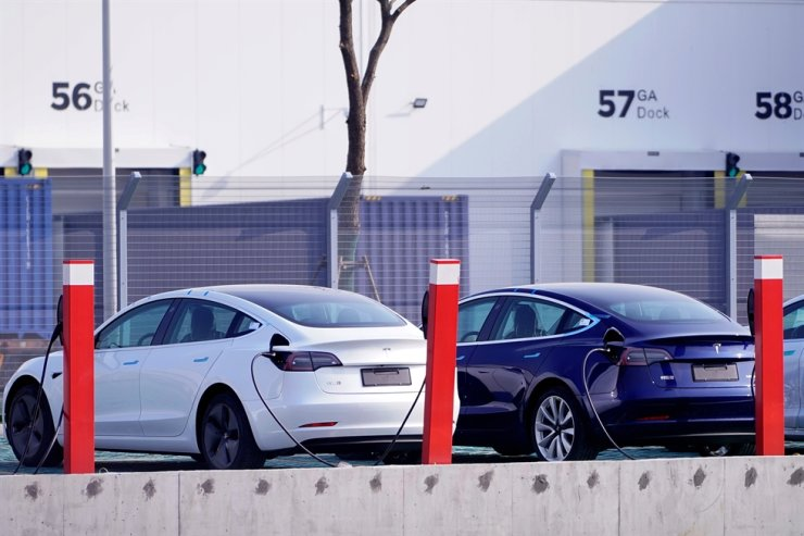 China-made Tesla Model 3 electric vehicles are seen at the Gigafactory of electric car maker Tesla Inc in Shanghai, China December 2, 2019. Reuters