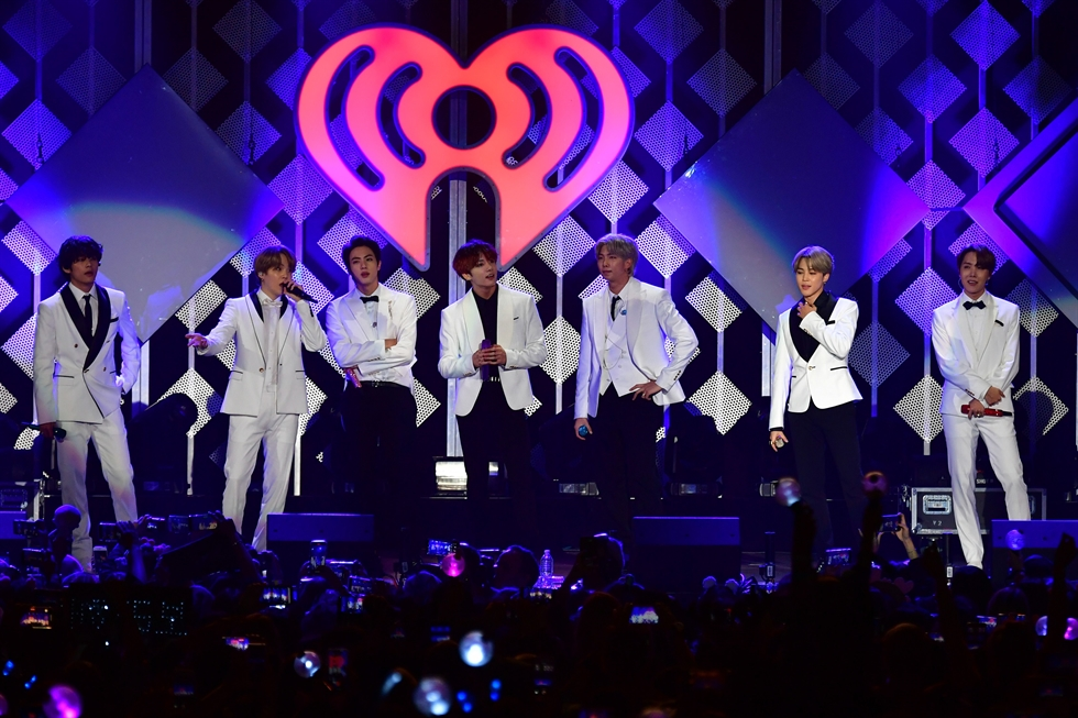 K-pop boy band BTS opens the 2019 KIIS-FM Jingle Ball concert at The Forum, Friday, Dec. 6, 2019, in Inglewood, Calif. AP