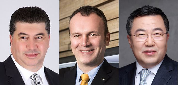 GM Korea CEO Kaher Kazem (left), Renault Samsung CEO Dominique Signora and SsangYong Motor CEO Yea Byung-tae.