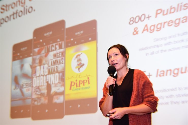 Helena Gustafsson, head of global publishing at Sweden-based audiobook streaming service Storytel, speaks during a news conference for the launch of their service in Korea, at CGV Myeongdong in Seoul, Thursday. / Courtesy of Storytel