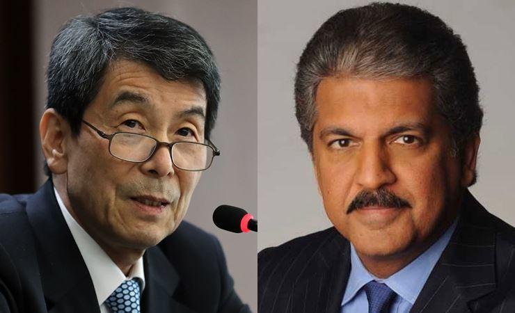 Korea Development Bank Chairman Lee Dong-gull and Mahindra Group Chairman Anand Mahindra