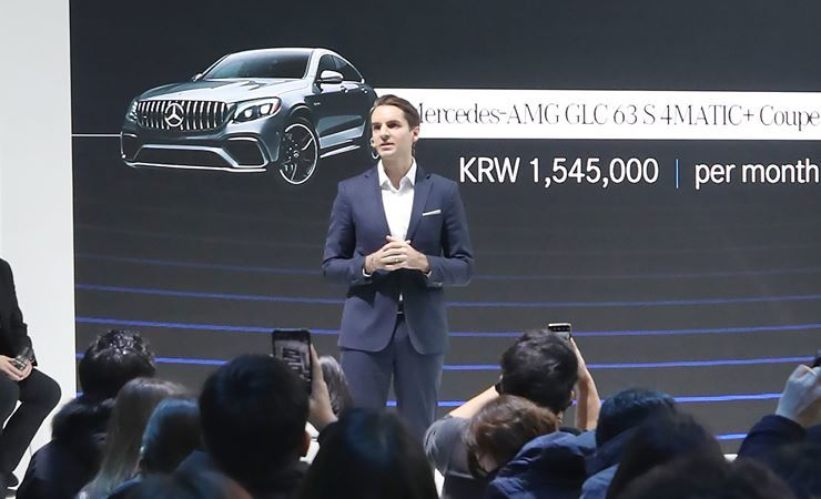 Mercedes-Benz Mobility Korea CEO Guillaume Fritz speaks during the company's inaugural press conference in Gangnam, Seoul, Tuesday. Following the launch, the company will provide long-term rental services for a full range of Mercedes-Benz vehicles in Korea for one to five years. Yonhap