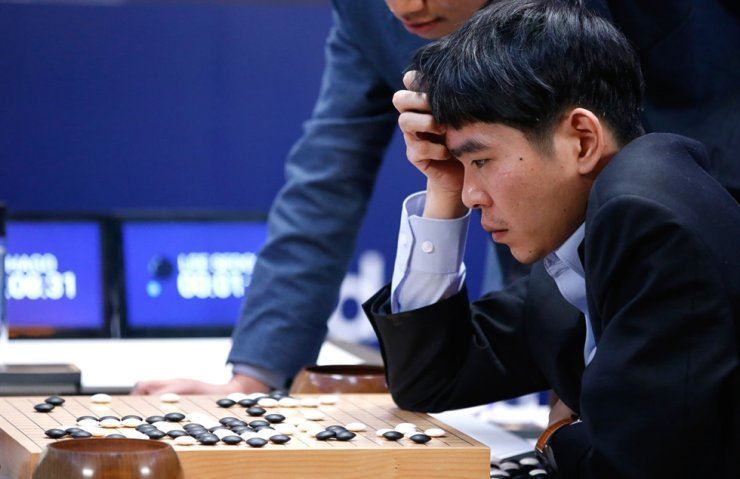 Lee Sedol plays AlphaGo in a historic human-AI go game in Seoul in 2016. In the five-game match, Lee managed to win only one game. The result is not so bad considering Lee is still the only human go player to win against AlphaGo.