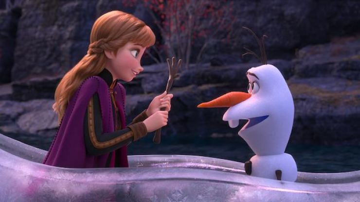 Anna and Olaf in the 'enchanted forest.' Korea Times file