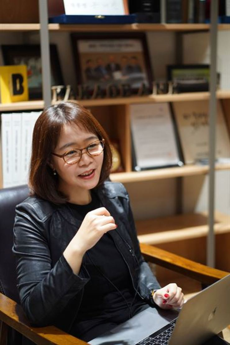 Kakao Bank's Channel Leader Ko Jung-hee speaks during an interview with The Korea Times at the bank in Pangyo, Gyeonggi Province, last month. / Courtesy of Kakao Bank