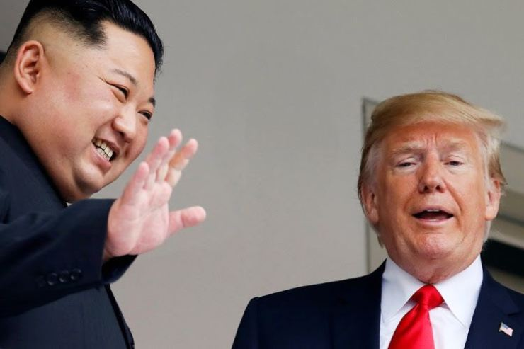 North Korean leader Kim Jong-un and US President Donald Trump in Singapore on June 12 2018. Picture: REUTERS/JONATHAN ERNST