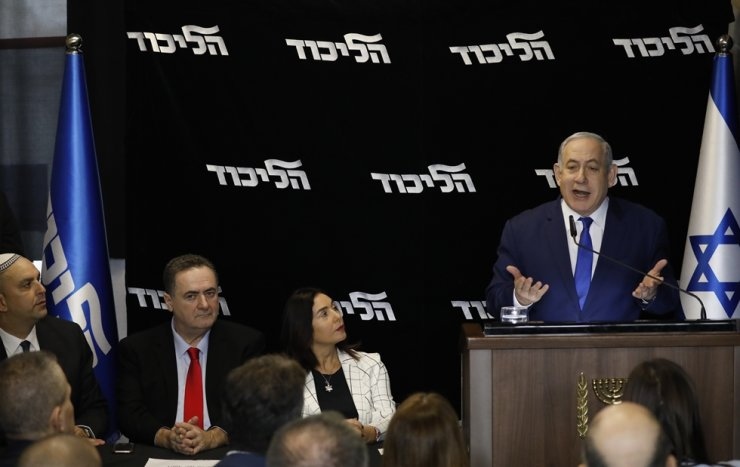 Israeli Prime Minister Benjamin Netanyahu deliverers a statement at the airport city in Lod Israel, Friday, Dec. 27, 2019. AP