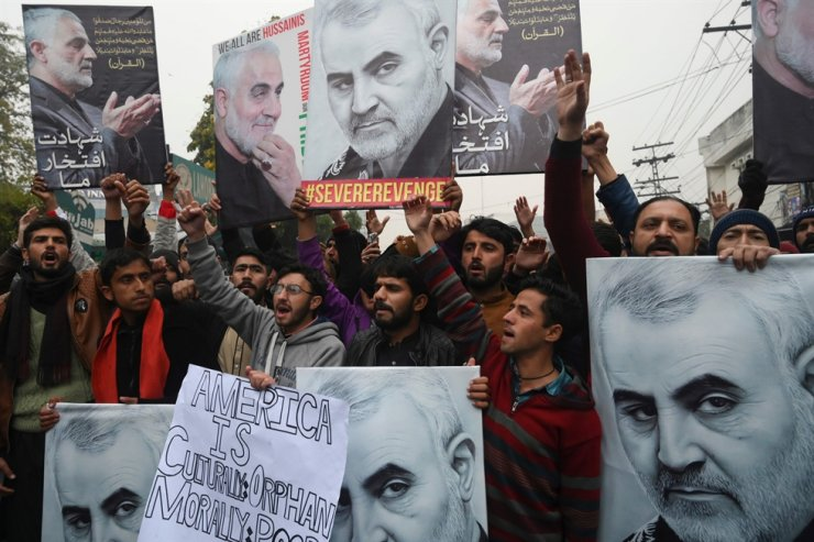 Pakistani Shiite Muslim protest against the killing of top Iranian commander Qasem Soleimani in Iraq, outside the U.S. consulate in Lahore on Jan. 7, 2020. AFP