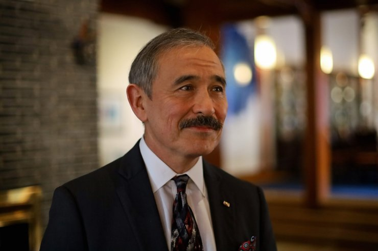 U.S. Ambassador to South Korea Harry Harris poses for a photo after a group interview at the ambassador's residence in Seoul on Jan. 16, 2020. AFP