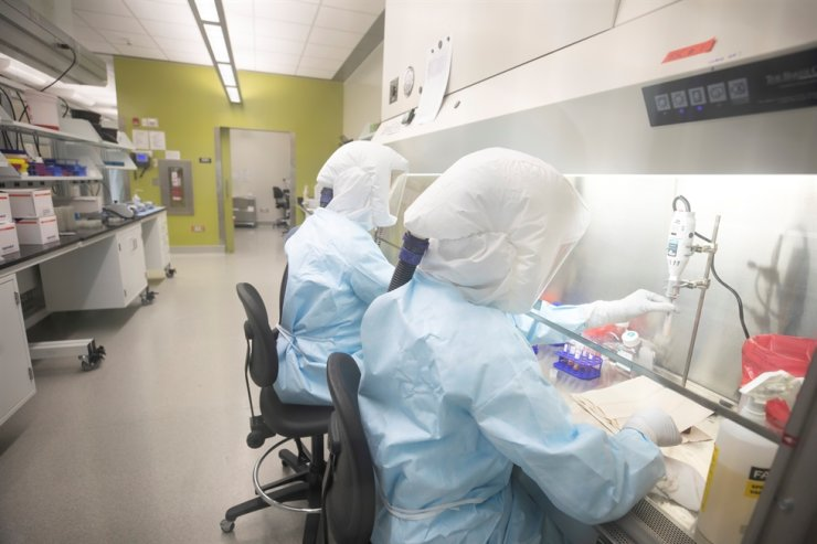 Scientists work in VIDO-InterVac's (Vaccine and Infectious Disease Organization-International Vaccine Centre) containment level 3 laboratory, where the organization is currently researching a vaccine for novel coronavirus, at the University of Saskatchewan in Saskatoon, Saskatchewan, Canada October 18, 2019. Picture taken October 18, 2019. David Stobbe/VIDO-InterVac/University of Saskatchewan/Handout via REUTERS