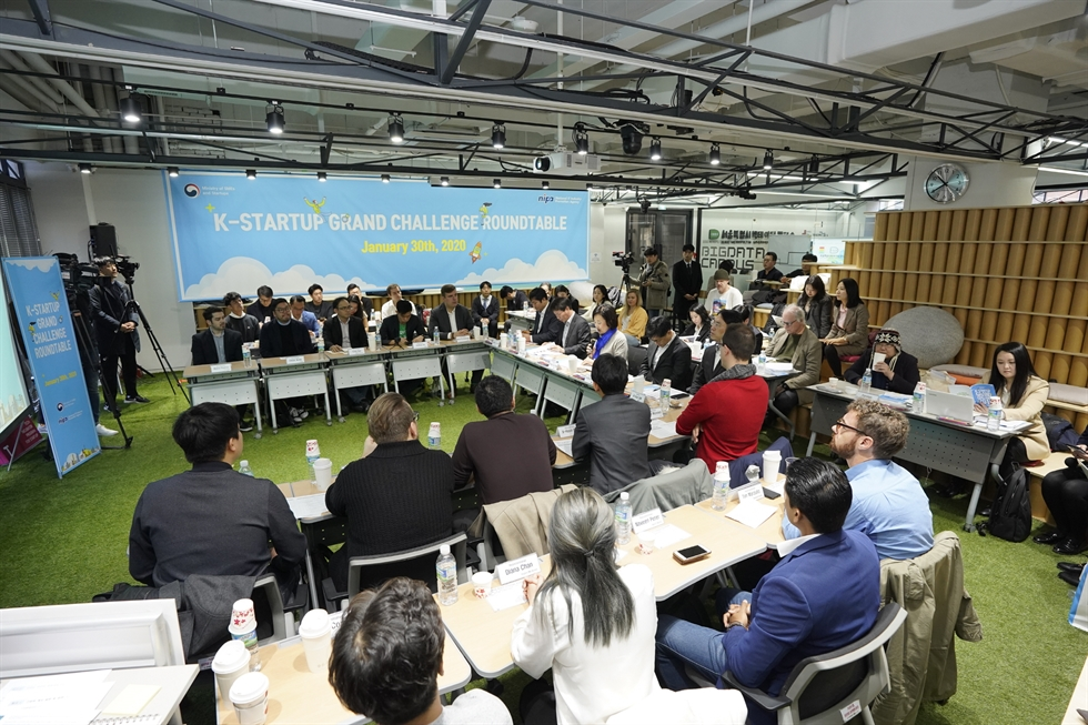 Park Young-sun, minister of SMEs and Startups, speaks during a roundtable talk meeting with overseas entrepreneurs running their businesses here at Tips Town, a startup incubator office, in Seoul, Thursday. / Courtesy of Ministry of SMEs and Startups