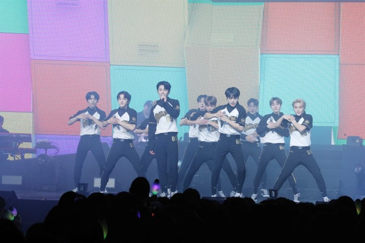 K-pop boy band Golden Child played its first solo concert 'FUTURE AND PAST' on Saturday. Courtesy of Woollim Entertainment