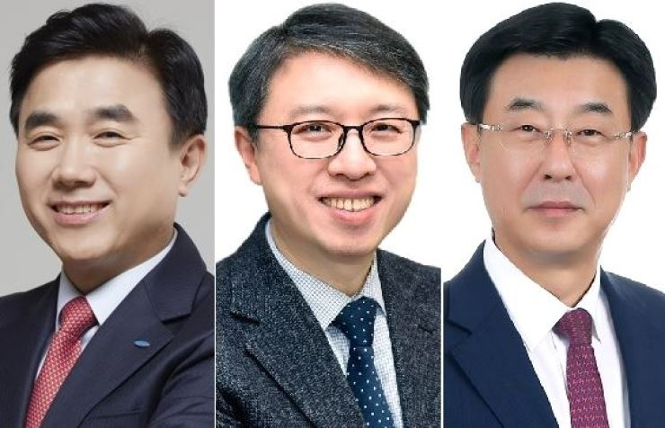 From left are Samsung Life Insurance CEO Jeon Young-muk, Samsung Card CEO Kim Dae-hwan and Samsung Asset Management CEO Shim Jong-geuk. / Courtesy of each company