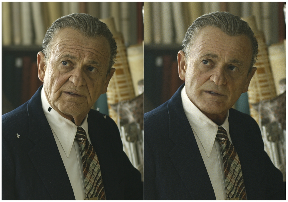 This combination of photos shows actor Robert De Niro, left, during the filming of 'The Irishman' and the younger version of De Niro created by Pablo Helman, visual effects supervisor at Industrial Light and Magic. Helman and his team spent two years looking through old movies and cataloging the targeted ages that De Niro would appear in the film. AP