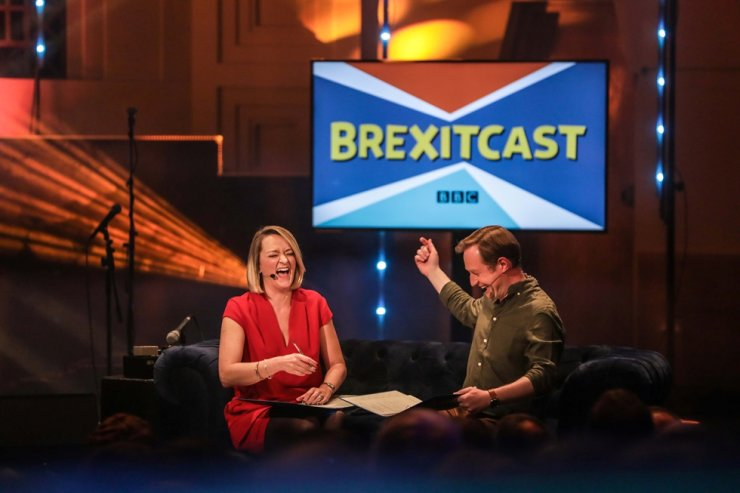 Laura Kuenssberg and Adam Fleming appear on BBC's Radio Theatre 'Brexitcast' in London, Jan. 30, 2020. Reuters