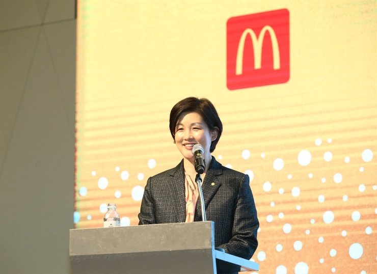 Former Managing Director of McDonald's Korea Joh Ju-yeon gives New Year speech at the company's headquarter in Seoul, on Jan. 9. / Courtesy of McDonald's Korea