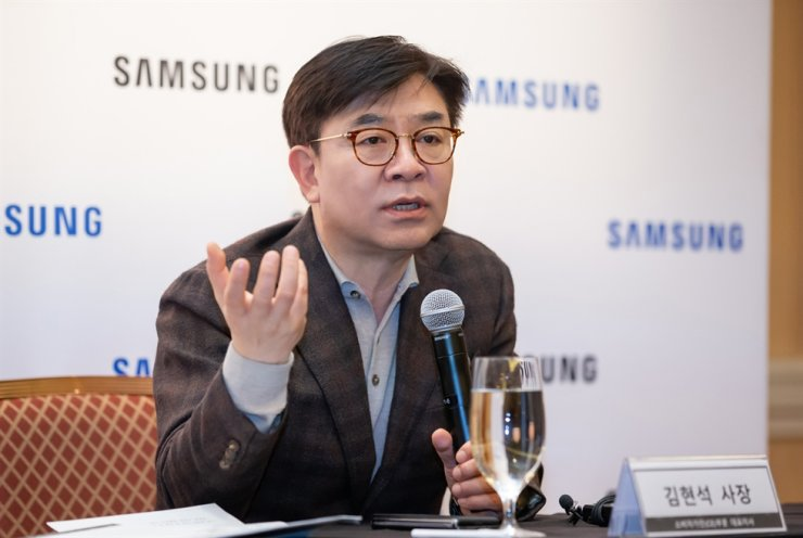 Kim Hyun-suk, president of Samsung Electronics' consumer electronics division, speaks during a press conference at the Caesars Palace Las Vegas Hotel and Casino, Wednesday (KST). / Courtesy of Samsung Electronics