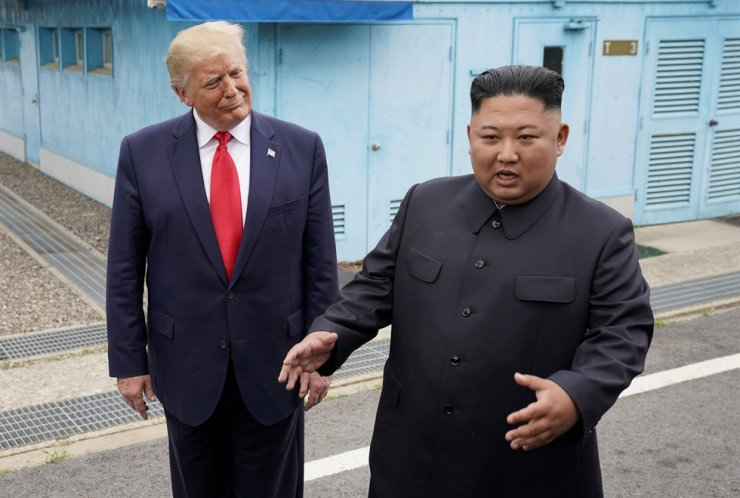 U.S. President Donald Trump meets with North Korean leader Kim Jong-un at the truce village of Panmunjeom in the demilitarized zone separating the two Koreas, June 30, 2019. Reuters-Yonhap