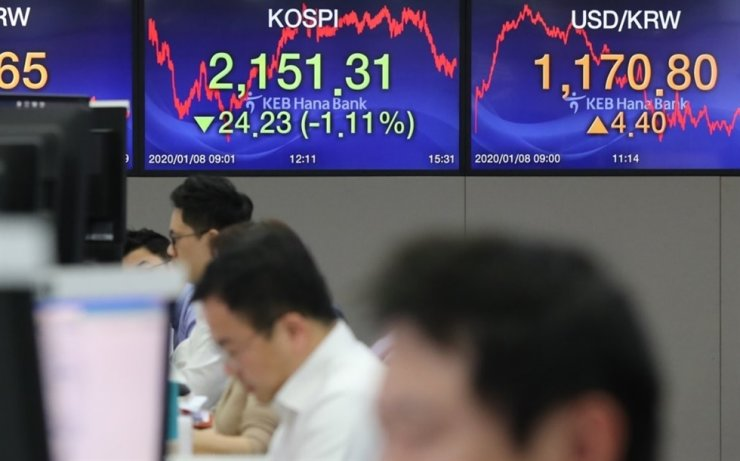 Electronic boards at KEB Hana Bank headquarters in Seoul show a drop in the benchmark KOSPI, Wednesday, when geopolitical risk heightened in the wake of Iran's missile retaliation against U.S. troops. Against the same backdrop, the won-dollar exchange rate rose. Yonhap