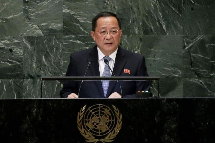North Korea's Foreign Minister Ri Yong-ho speaks at the 73rd session of the United Nations General Assembly in New York in 2018. Photo by John Angelillo/UPI