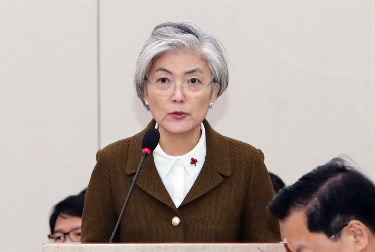 Foreign Minister Kang Kyung-wha speaks to the Foreign Affairs and Unification Committee at the National Assembly in Seoul, Thursday. / Yonhap