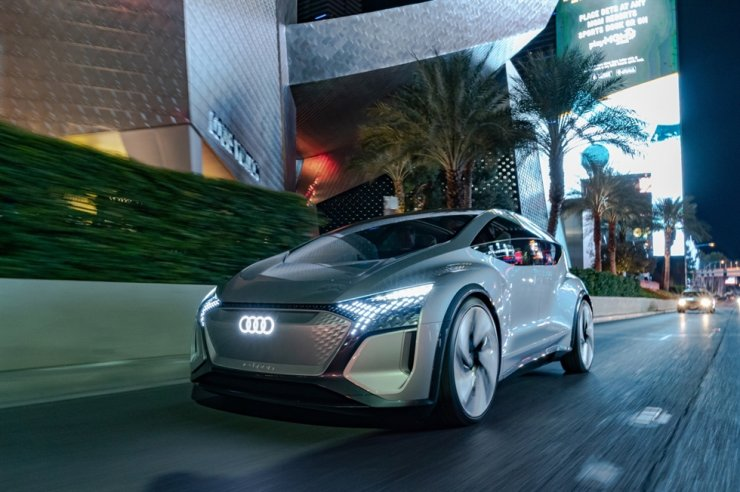 A photo of an Audi autonomous vehicle dubbed 'AI:ME' roams through the streets of Las Vegas during the Consumer Electronics Show (CES), on Jan 7. Courtesy of Audi