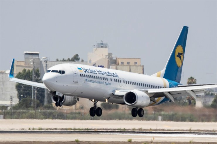 In this file photo taken on July 4, 2017, a Boeing 737-3E7 from Ukraine Int. Airlines lands at Israel's Ben Gurion International airport on the outskirts of Tel Aviv. AFP