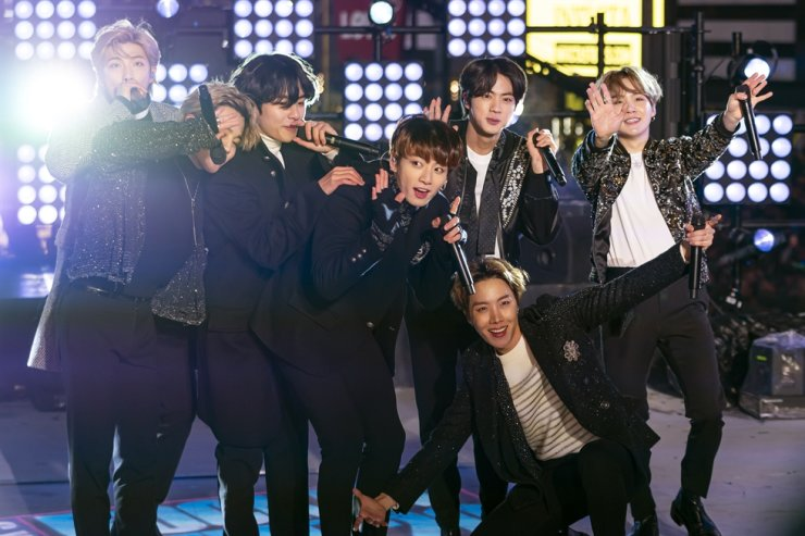 BTS perform at the Times Square New Year's Eve celebration on Tuesday, Dec. 31, 2019, in New York. AP-Yonhap