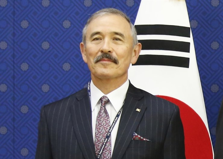 In this Nov. 6, 2019, file photo, U.S. Ambassador to Seoul Harry Harris poses for photos during their meeting at the Foreign Ministry in Seoul. AP