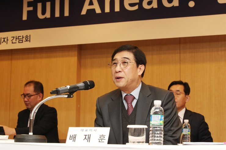 Hyundai Merchant Marine (HMM) CEO Bae Jae-hoon speaks during a press conference at the company's office in Seoul, Tuesday. Courtesy of HMM