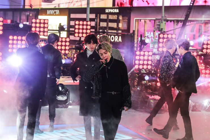 BTS performs during New Year's Eve celebrations in Times Square in the Manhattan borough of New York, U.S., Dec. 31, 2019. Reuters