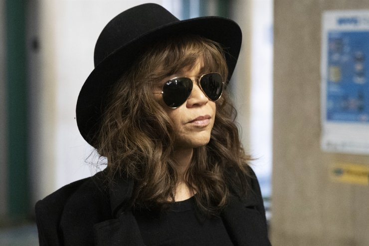 Actress Rosie Perez arrives for Harvey Weinstein's rape trial, Friday, Jan. 24, 2020 in New York. AP