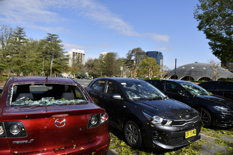 Aftermath of a hail storm at the Commonwealth Scientific and Industrial Research Organisation (CSIRO) glasshouses in Canberra, Australia, Jan. 21. EPA