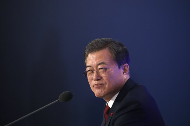 South Korean President Moon Jae-in speaks during his New Year press conference at the presidential Blue House in Seoul, South Korea, Tuesday, Jan. 14, 2020. AP-Yonhap