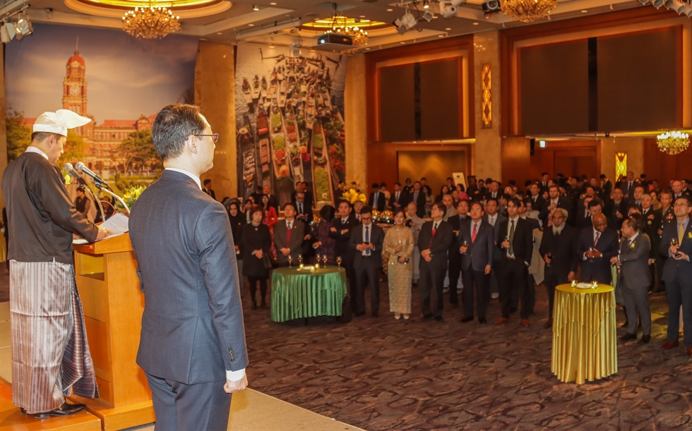 Myanmar Ambassador to Korea Thant Sin delivers a speech during a reception to mark the 72th anniversary of Myanmar's independence at the Lotte Hotel in downtown Seoul, Jan. 9. / Embassy of Myanmar