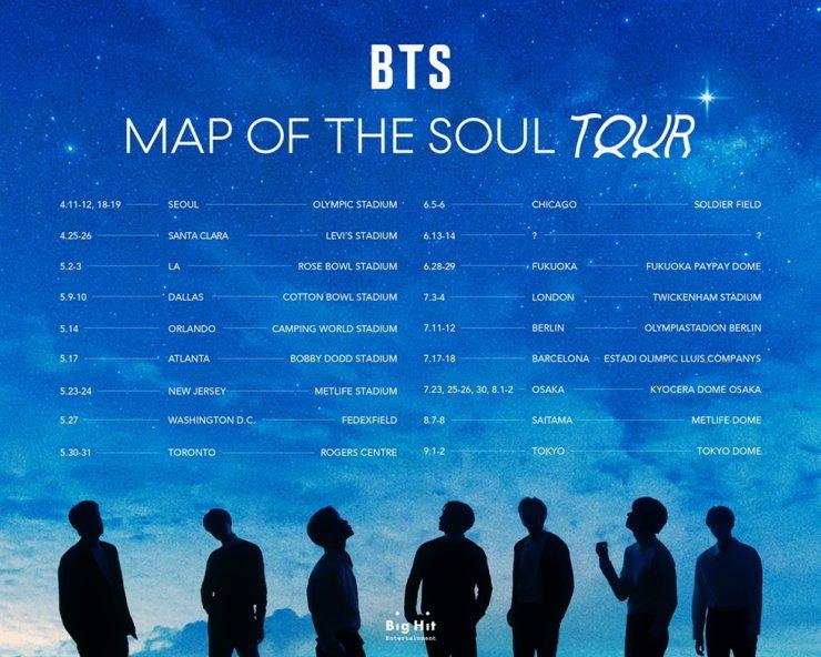 BTS's tentative world tour schedule. Courtesy of Big Hit Entertainment